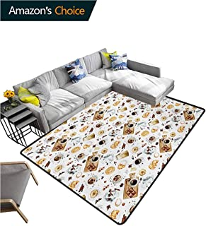 Modern Home Bedroom Carpet Floor Mat, Lunch Table with Croissant Bagels Coffee Cheese Chocolate Watercolor Artwork Easy Maintenance Area Rug Living Room Bedroom Carpet, (2'x 6') Sand Brown White