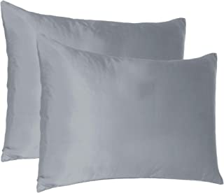 Find Here Satin 300 TC Pillow Covers Set of 2 Silk & Soft for Hair and Skin Standard ( 20 X 26 Inchs ) (Silver Grey)