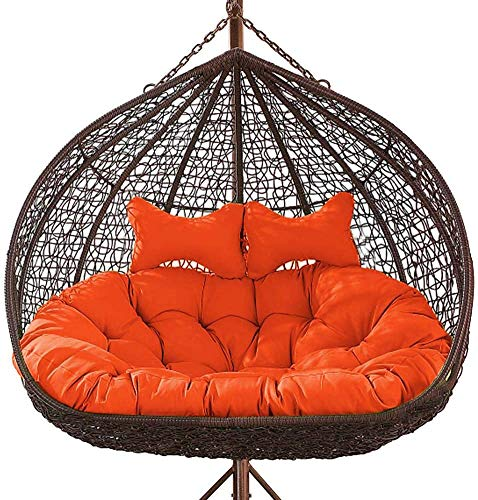 Luxury 2 Person Wicker Swing Chair Cushion, 2 Seats Hanging Egg Chair Cushion Patio Wicker Rattan Loveseat Swing Chair Cushion Non-Slip& Washable, 59.05x43.31x6.3inch