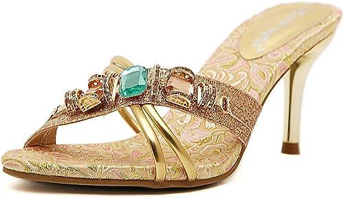 Sandales Mode Talons Hauts Aiguilles, Chaussures été Strass Bling Lanière Bout Ouvert Femmes Mules