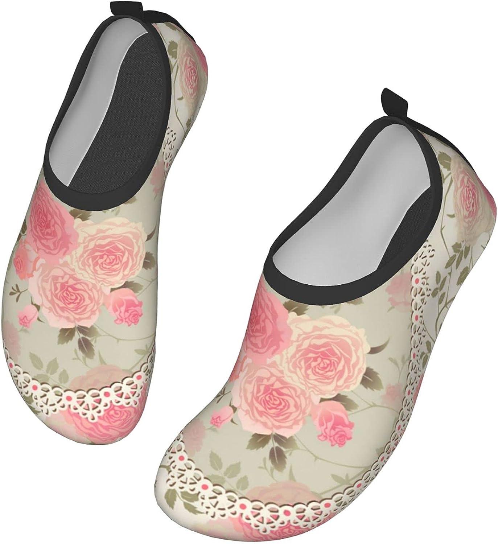 NAHOMER Barefoot Shoes Mens Womens Pink Flowers Rose Retro Aqua Socks Quick-Dry Beach Shoes for Dive Surf Swim Yoga