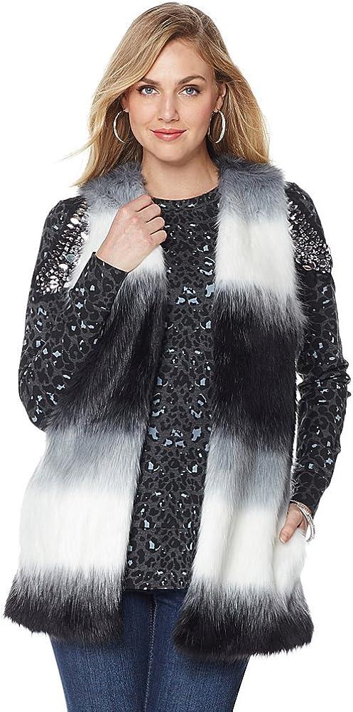 Melissa McCarthy Seven7 Women's Plus-Size Dip Dye Faux Fur Vest