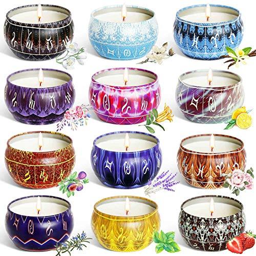 feixia Bougie parfumée à la Cire de soja Naturelle Bougie en Pot, 16 Bougies parfumées en boîtes, 2,5 oz x 12