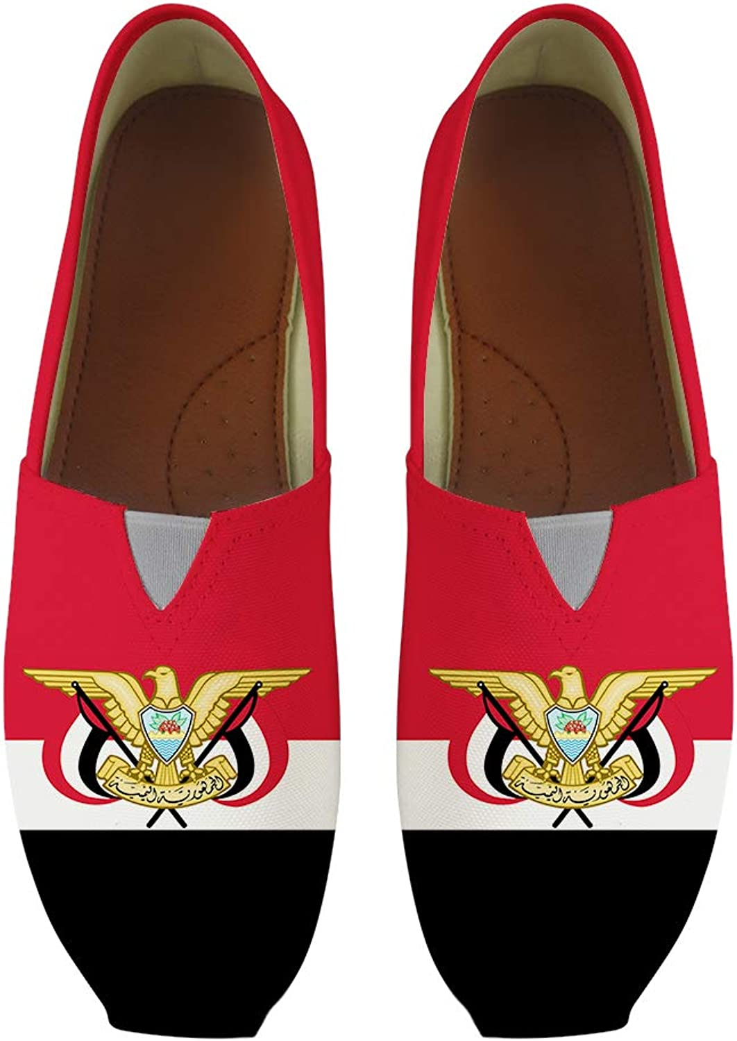 Owaheson Classic Canvas Slip-On Lightweight Driving shoes Soft Penny Loafers Men Women Yemen Flag National Emblem
