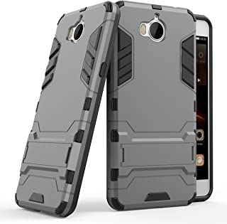 Case for Huawei Y5 2017 / Y6 2017 (5 inch) 2 in 1 Shockproof with Kickstand Feature Hybrid Dual Layer Armor Defender Protective Cover (Grey)