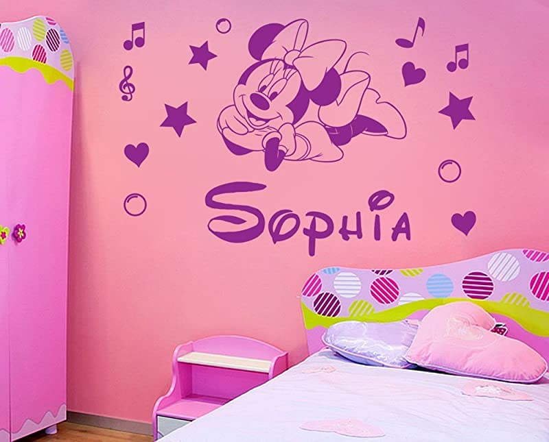 Personalized Name Minnie Mouse Vinyl Wall Sticker Kids Art Wall Paper Decal For Nursery Room Custom Name You Select Name And Color