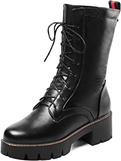 FANIMILA Women Fashion Round Toe Combat Boots Lace Up