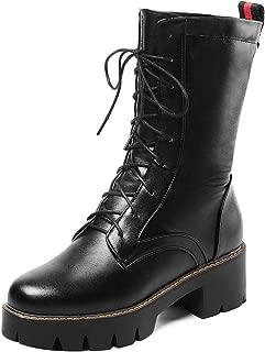 RizaBina Women Fashion Round Toe Combat Boots Lace Up