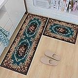 Tsosginaog Kitchen Carpet European Style Long Strip Rug Doorway Non-Slip Water Absorption Oil-Proof Door Mat for Household/Restaurant/Cafe/Hotel Rug,N,5080+50150