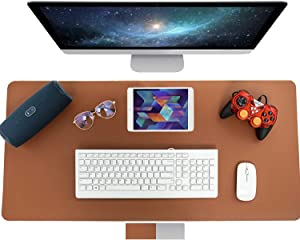 Multifunctional Office Dual Sided Desk Pad, COOLCAT Waterproof PU Leather Mouse Pad Laptop Pad, Dual Use Desk Writing Mat for Office/Home 31.5