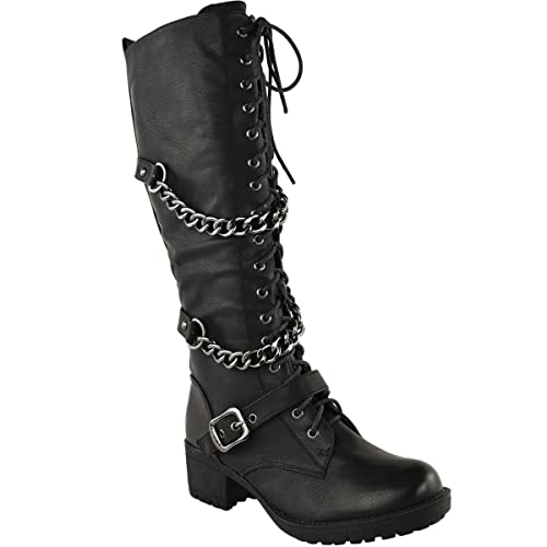 6857d3f62d80f Fashion Thirsty Womens Knee High Mid Calf Lace Up Biker Punk Military  Combat Boots Shoes Size