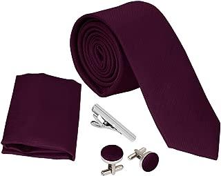 Bundle Monster Mens 4pc Solid Color Skinny Tie Fashion Accessories Set