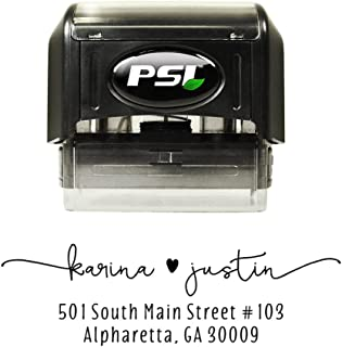 Custom Return Address Stamp with Heart, Self Inking, Wedding Stamp, Personalized, Black Ink