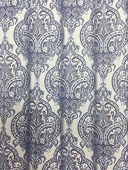 Tahari Liza Damask Fabric Shower Curtain - Light and Dark Blue on White