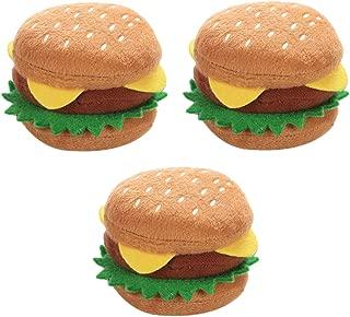 FutuHome 3ピース犬ハンバーガー咀Cheおもちゃきしむぬいぐるみ犬のおもちゃ犬歯が生えるきれいなおもちゃ