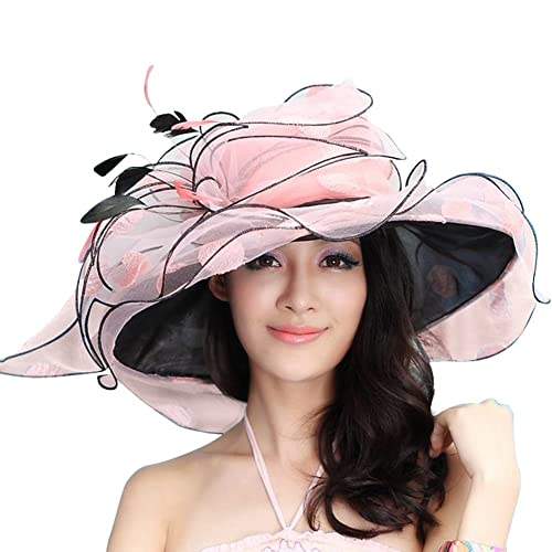 d9cc5f6b June's Young Women Race Hats Organza Hat with Ruffles Feathers