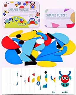 Mesgyno Wooden Pattern Blocks Animals Jigsaw Puzzle Sorting and Stacking Games Montessori Educational Toys for Toddlers Kids Boys Girls Age 3+ Years Old (36 Shape Pieces& 60Design Cards in Iron Box)