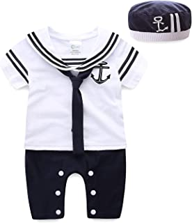 Mud Kingdom Baby Boy Rompers with Hats Summer Sailor
