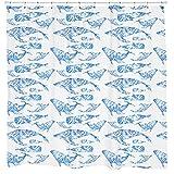 Whale Shower Curtain, Fish Animal Pattern, Beach Theme Shower Decor, Ocean Art, Nautical Bathroom Decor, White Curtain Waterproof