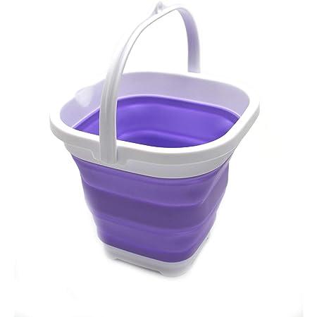 SAMMART Super Mini Seau Plastique Carré Pliable - Baignoire Carrée Pliable - Seau d'Eau de Pêche Portable - Pot d'Eau Extérieure Gain d'Espace (Violet)
