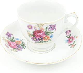 Vintage china bone porcelain tea cup and saucer set made in Japan