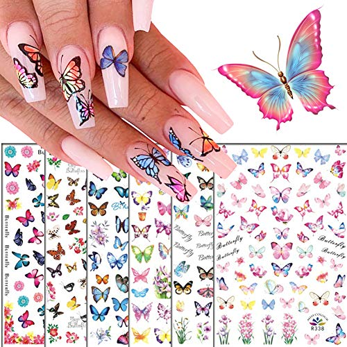 3D Butterfly Nail Art Decals Sticker Nails Supply Flower Butterfly Nail Design Stickers Self-Adhesive Nail Decorations DIY Butterflies Nail Art Stickers Acrylic Nails Design Decor (6 Sheets)