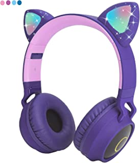 Kids Wireless Headphones Bluetooth Cat Ear Headphones with Flashing Led Light,SD Card Slot,FM,3.5 mm Audio Jack Wired Kids On Ear Headphones for Boys Girls Adults(Purple)