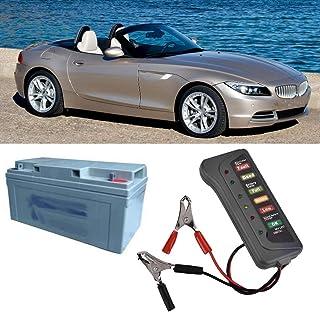 Junluck Testador de bateria resistente automotivo, 12 V, durável, 6 LEDs, testador de bateria, para carro, motocicleta seg...