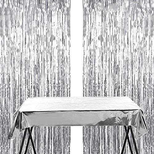 Silber Metallic Tinsel Vorhänge,2 Stück Folie Fringe Shimmer Vorhang+Decorative Tischdecke,Quaste Folie Vorhang Metallic,Folie Fransen Vorhänge Tür,Party Dekoration Geburtstag für Halloween