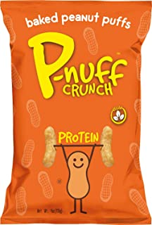 Pnuff Crunch - Healthy Vegan Snacks, Gluten Free with Plant-based Protein, Crunchy Baked Peanut Protein Puffs + Original - 4 ounce, Pack of 5