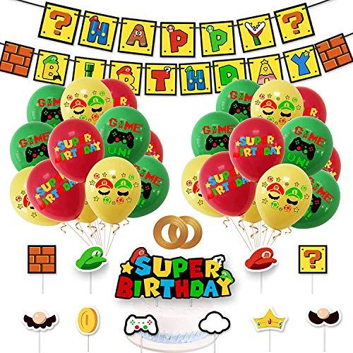 Yisscen Globos de Látex Super Mario Adorno de Torta Banner de Happy Birthday para Mario Decoración de Fiestas de Cumpleaños Suministros 34 Piezas