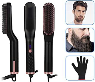 Beard Straightener for Men - Candywe 3-in-1 Ionic Heated Beard and Hair Straightening Comb, Beard Straightener Brush with 30s Fast Ceramic Heating Anti-Scald Feature for Home, Travel, Salon, Gift