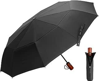 EKOOS Travel Umbrella, Compact Folding Umbrella Large with 40.55 inch Windproof Teflon Coating Double Canopy Construction - Auto Open/Close Button 10 Rib Wood Handle
