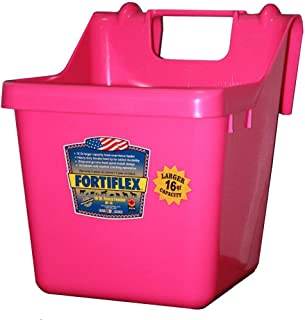 Fortiflex Hook Over Fence Feeder for Dogs/Cats and Horses, 16-Quart, Hot Pink
