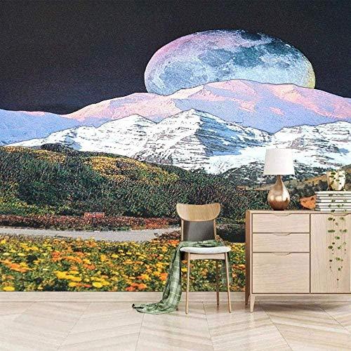 Papel tapiz fotográfico Efecto 3D Jardín Blanco Nieve Montaña Luna Papel tapiz fotográfico 3D Mural Papel ta Pared Pintado Papel tapiz 3D Decoración dormitorio Fotomural sala sofá mural-430cm×300cm