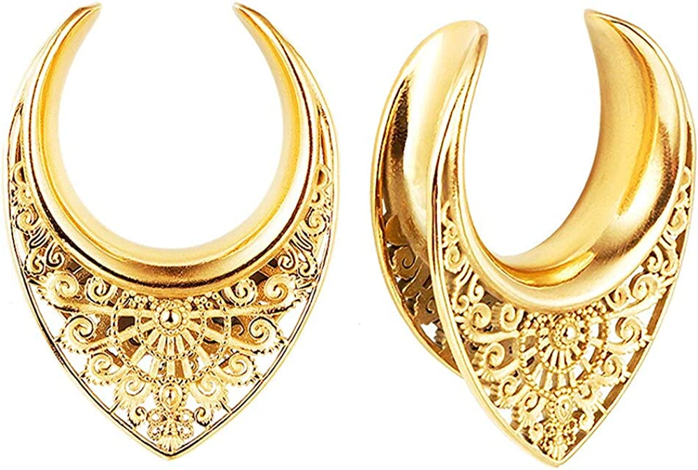 Special price for a limited time Casvort 2 PCS Gold Saddle Tunnels Plugs S Hangers Arlington Mall Gauges Ear