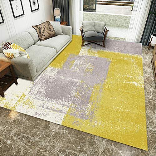 alfombras pasilleras Diseño de Tinta Gris Amarillento, Antideslizante, Resistente a Las Manchas, Alfombra Resistente a la decoloración alfombras Pelo Corto Decoracion Dormitorio Juvenil 180X250CM