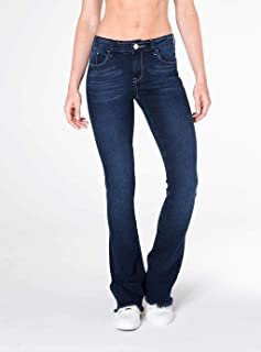 7623a1961 Calça Jeans Mini Bootcut cintura alta azul escuro Mofficer