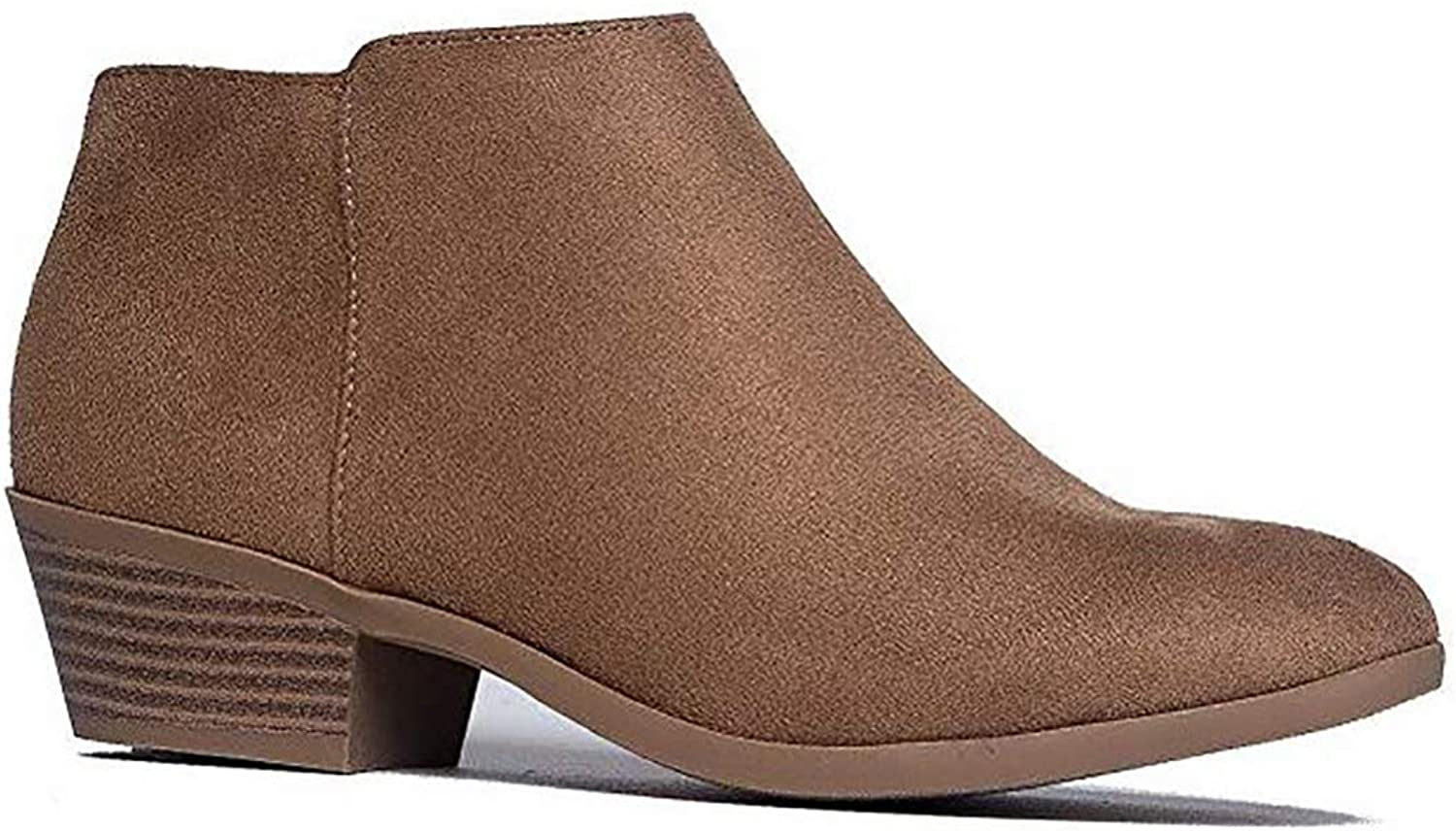 MVE shoes Cute Bootie - Womens Almond Toe Strech Slip On Ankle Boot - Low Heel