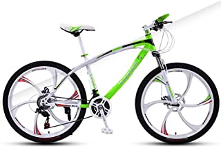 AP.DISHU 24 Inch Child Mountain Bike 27 Speed Double Disc Brake Bicycle Front Suspension High Carbon Steel MTB,Green