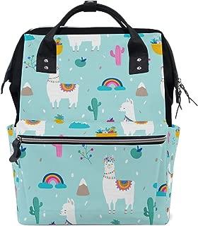 Unimagic Colorful Llama Cactus Diaper Bag Backpack Multi-Function Organizer Large Capacity Waterproof Durable Nappy Bags for Mom Dad Women Men