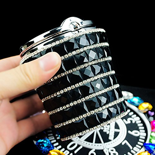 hand made blue light(replaceable battery) car ashtray cup holder with lid,Luxury ashtray with lid,Stub Out Glow in the Dark Rhinestone Crystal Diamond car ashtray with cover(all black for car)