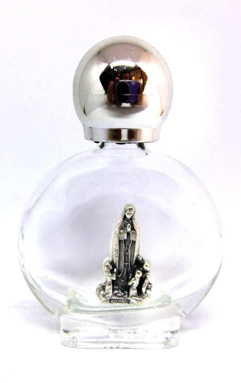 Botella de cristal con tapón plateado para agua bendita con aparición de la Virgen de Fátima, 90.294.90 013
