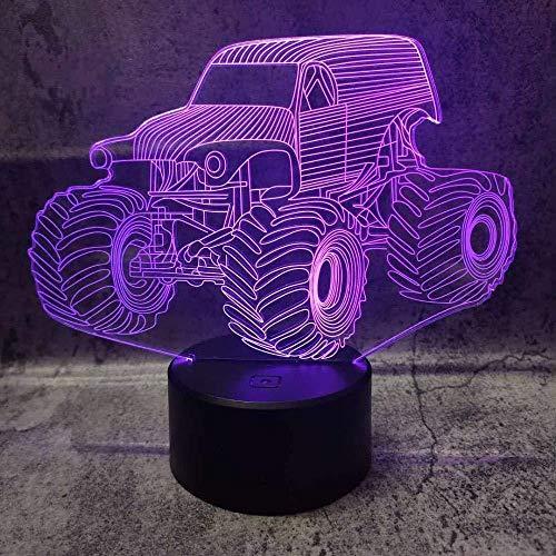 3D luz nocturna tractor 3D ilusión lámpara 7 colores cambiantes USB luces de noche lámpara de mesa control remoto interruptor táctil hogar dormitorio decoración Light2 novedad regalo