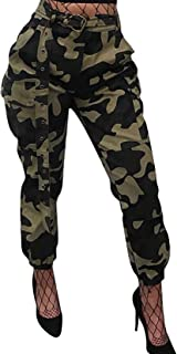 993e1d254f8d2 Voghtic Women's High Waisted Slim Fit Camoflage Camo Jogger Pants with Belt