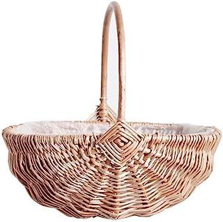 Panier à fleurs tressé à la main avec poignée, panier de rangement en osier vide avec insert en plastique, panier de Pâque...