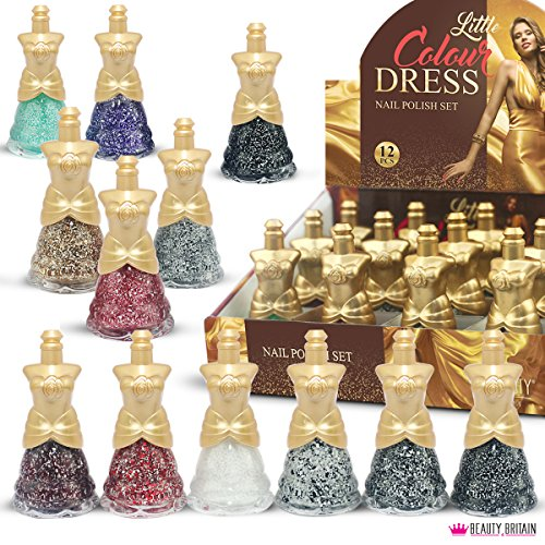 12 x Glitter Nagellack Kleid Geformt 12 Verschiedene Farben Luxus Box (Farbpalette #A (12 Flaschen))