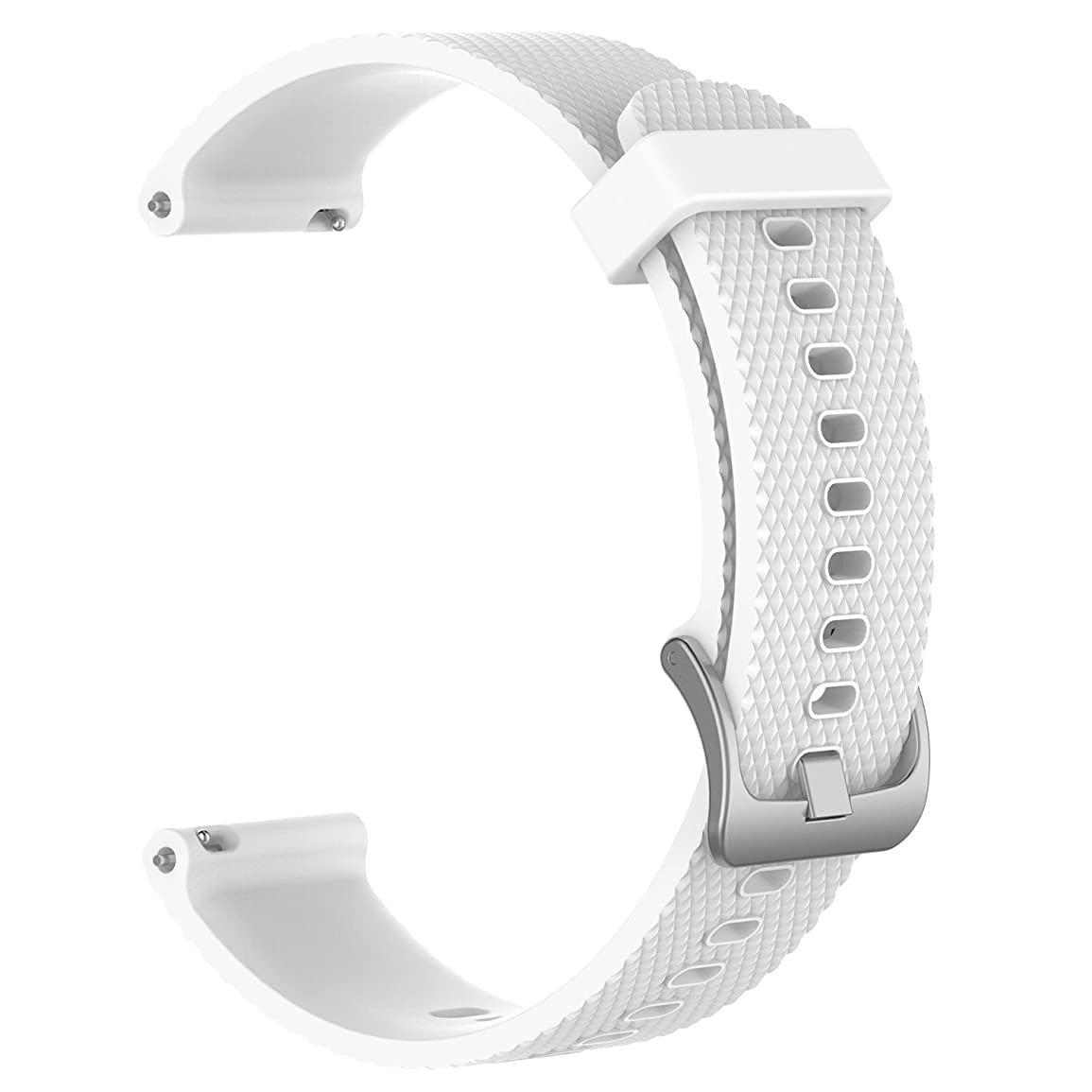 従う経営者百年MotivaJP TicWatch C2 ローズゴールド 18mm スマートウォッチバンド シリコン 腕時計ストラップ 交換ベルト (ホワイト)