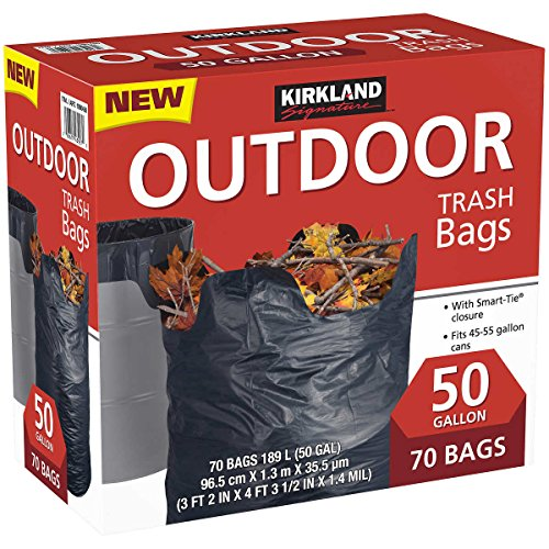 Kirkland Signature Outdoor 50 gallon Trash Bags (70 Bags) (3 Pack(Total 210 Bags, Each 70 Bags))