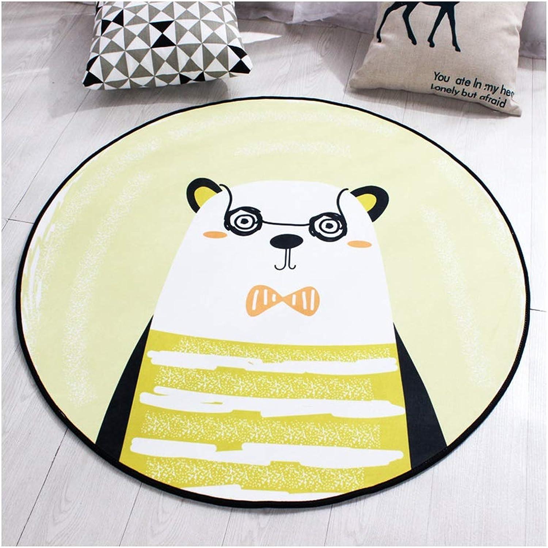 SCM Alfombras Alfombra rojoonda de Oso de Dibujos Animaños Amarillo Habitación para Niños Dormitorio Sala de Estar Estudio Alfombra Mesa de Centro de café (Tamaño   140CM)